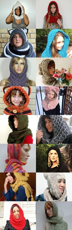 Etsy Treasury - Hand Crocheted and Knitted Hooded Scarves by Lenore Berry-Zaragosa on Etsy--Pinned with TreasuryPin.com  #etsytreasury #etsy #treasury #finds #shop #etsyshop #etsyfinds #treasurypin