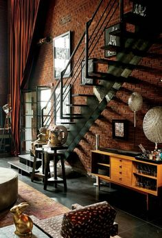 A little #industrial design makes a room evolve with style  #FashionDesign