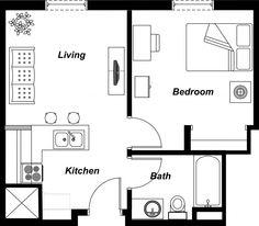 Attractive Studio Apartment Floor Layout