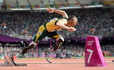 Oscar Pistorius of South Africa today made history as the first double-amputee runner to compete at the Olympics
