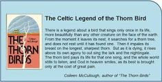 Image result for Thorn Bird The Thorn Birds, Celtic, Singing, In This Moment, Lettering, Life, Image, Animal, Friends