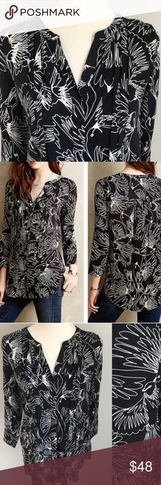 """NWOT Anthropologie Maeve Pintucked Bird Blouse NWOT Anthropologie Maeve Pintucked Bird Blouse. Flattering button down blouse with large bird print. Pintucked pleats down front. A real standout piece for work or play!  Approximate measurements (flat): Underarm to underarm: 19""""; Length: 27""""  Never worn. In new condition. Anthropologie Tops Blouses"""