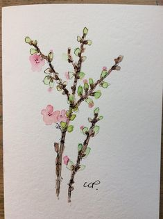 Fruit Tree Blooms Watercolor Card / Hand Painted Watercolor Card
