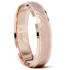 This popular mens hammered comfort fit wedding band is made of solid 14k pink rose gold. - $395