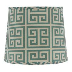 "AHS Lighting Greek Key 16"" Linen Drum Lamp Shade"