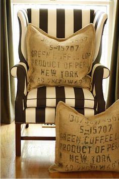 stripes & stamped burlap