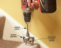 Squeak repair kit - special tool prevents damage to carpet or finished flooring