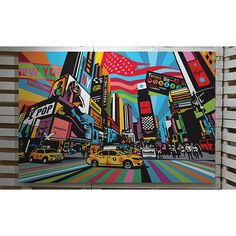 New York Times Square Artista Lobo Pop Art Keith Haring, Large Canvas, Canvas Art, City Sketch, Square Art, Arte Pop, Andy Warhol, Modern Art, Times Square
