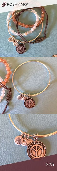 Peace Alex & Ani Product Description ▫️Bring on the peace with this adorably charming Alex and Ani bracelet  ▫️Great layering bracelet  ▫️No tarnishing  ▫️Fits small wrist   Bundle and save on Alex and Ani   ⭐️See Buyer Guarantee ⭐️  ⚡️Follow my insta for the non-Poshmark side of my life⚡️----> @hayleysforsblom Alex & Ani Jewelry Bracelets
