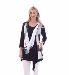 NWT Parsley & Sage 6T30F Shirley Multi-way Vest Black & White pieced M-3X  #ParsleySage #KnitTop #Casual