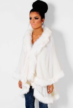Snow Angel White Fluffy Faux Fur Cape | Pink Boutique