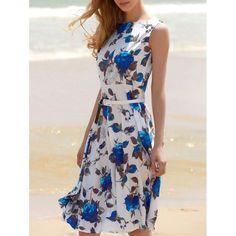 $15.98 Women's Vintage Sleeveless Floral Print Belted Dress