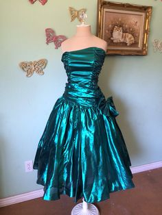 e85a13f366ee 80's Prom Dress Mermaid Green Metallic by RoryLaRueVintage on Etsy, $70.00 80s  Prom Dress Costume