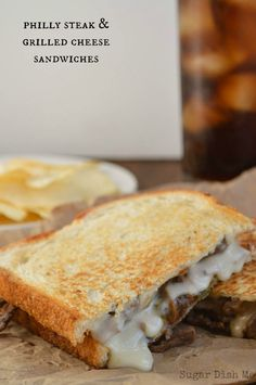 Philly Steak and Grilled Cheese - that cheese sauce! Oh my WOW! Steak Recipes, Grilled Cheese Recipes, Lunch Recipes, Sandwich Recipes, Grilled Cheeses, Sandwich Ideas, Grilled Sandwich, Salad Sandwich, Soup And Sandwich