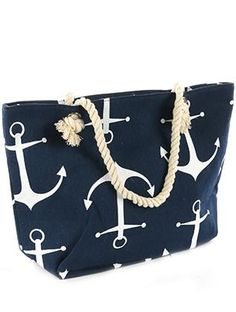 Navy Blue Anchor Print Tote Bag - Forever Dream Boutique