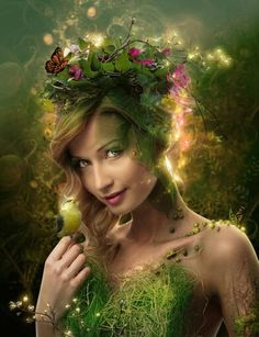 Mielikki is the Finnish goddess of forests and the hunt. She is known as a skillful healer who heals the paws of animals who have escaped traps and has knowledge of using healing herbs.