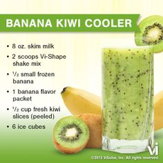 Try this Banana Kiwi Cooler Vi-Shake to keep you full and refreshed!