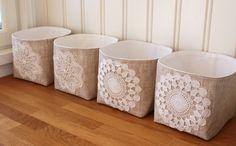 Linen & lace fabric bins.