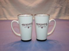 "Vintage Design of Set of 2 / Pair 6"" tall Hershey's Tall Mug by Galerie Hot Cocoa, Coffee, Tea, Hot Chocolate by KattsCurioCabinet on Etsy"