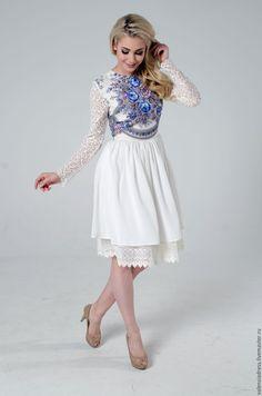 """Купить Платье белое, платье с кружевом короткое """"Аромат лета"""" - белый, однотонный, свадебное платье"""