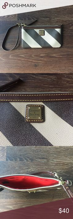 Authentic Dooney & Bourke Brown Clutch Authentic D&B brown striped wallet, great condition. Dooney & Bourke Bags
