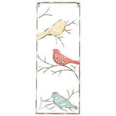"""Shabby-chic style has never looked so beautiful. This Turquoise Metal Wall Decor with 3-Birds combines vintage flair with colorful, outdoorsy style. A large distressed turquoise metal frame surrounds a yellow, a red, and a turquoise bird, each with their own unique pose and pretty cutout scroll design. With playful branches, this piece is a must-have addition to your country-chic decor theme!    Dimensions:      Length: 30""""    Width: 12""""    Thickness: 5/8""""     ..."""