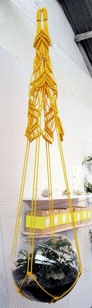 DIY - Never thought of using a macrame hanger to house a terrarium. Macrame Art, Macrame Projects, Macrame Knots, Macrame Plant Hangers, Macrame Patterns, Hanging Planters, Plants, Terrariums, Weaving
