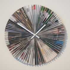 This fun clock was made by folding up an IKEA catalog accordion style and gluing it to a disk. See the Accordion-style recycled magazine clock at La Casa de Crafts. Recycled Magazines, Old Magazines, Paper Clock, Paper Art, Magazine Crafts, Magazine Art, Book Crafts, Arts And Crafts, Paper Crafts