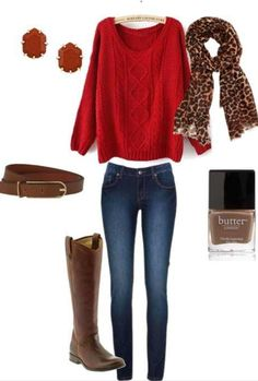 fall outfit : long boots : red sweater :