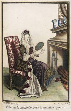 Recueil des modes de la cour de France, 'Femme de Qualité en Robe de Chambre d'Hyuer' 1685 | LACMA Collections