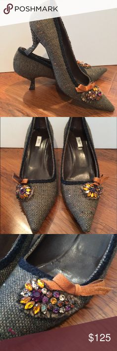 Prada pumps Excellent, gently worn condition, amazing tweed pointy toe pumps with jewel detail and velvet bows. check out the resin detailed basket weave heel! So much amazing detail to these classic shoes! Prada Shoes Heels