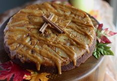 Paleo Caramel Apple Upside Down Cake (AIP) - a grain-free, egg-free apple-filled cake topped with salted caramel drizzle! SO GOOD! | fedandfulfilled.com
