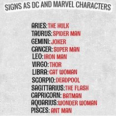 "2,518 Likes, 121 Comments - ZodiacThing.com (@zodiacthingcom) on Instagram: ""Signs as D.C. and Marvel character #aries #aries♈ #taurus #taurus♉️ #gemini #gemini♊ #cancer…"""