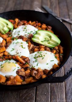 2. Smoky Bacon Sweet Potato Hash and Eggs #healthy #bacon #recipes http://greatist.com/eat/bacon-recipes-that-wont-wreck-healthy-eating-habits