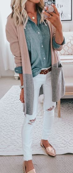 Love the cardigans combo with the white pants!