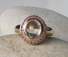 Halo Promise Ring with Birthstone Pink Sapphire Ring by Belesas