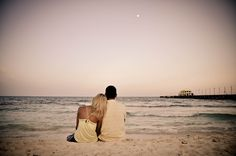 """""""This is my favorite picture of us together; a beautiful sunset on the beach, no worries, only our love for each other and continues to grow everyday."""" – Alyssa & Sean"""