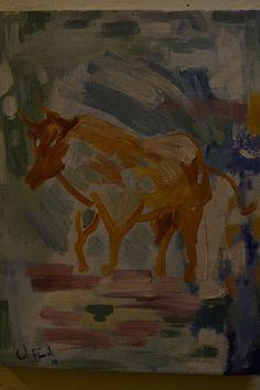 2do año, ejercicio, pintura rápida, probando pintura hecha en la clase de materiales, óleo sobre lienzo, 30x40 cm