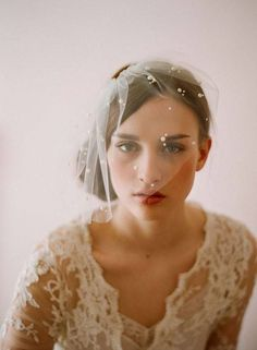 blusher veil with pearl detailing