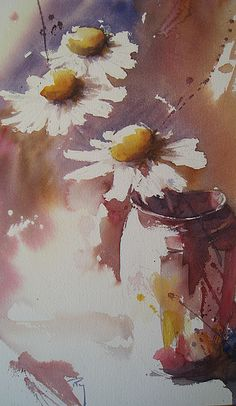 by Catherine Rey Watercolor Pictures, Watercolor And Ink, Watercolour Painting, Watercolor Flowers, Painting & Drawing, Watercolours, Nature Paintings, Beautiful Paintings, Art Floral