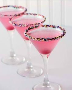Adult Birthday Cake!  Birthday Cake Martini~  1.5 oz Vanilla Vodka  1.5 oz Cranberry Juice  1/2 oz Champagne  Cherry Optional for Garnish  Rim Glass with Sprinkles ( Cake Frosting Helps Them Stick Chocolate or Cheesecake is a fav or whatever you prefer)  Fill Ice shaker halfway with ice then add Vodka & Cranberry Juice & Shake well & Stain into Glass then Add the Champagne! *Wah*La* Drop in a Cherry for Garnish & Enjoy!