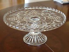 RARE! EXTRA LARGE CROWN CRYSTAL 1929 DEPRESSION GLASS CAKE STAND!