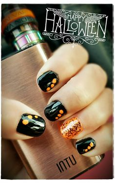 ...DIY easy festive Halloween nails - used a toothpick for the dots!!
