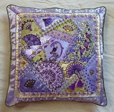 I ❤ embroidery & crazy quilting . . . Absolutely stunning, Russian handmade crazy quilted silk pillow . . .