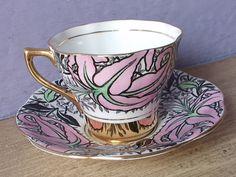 Vintage 1940's Pink and Black tea cup Rosina by ShoponSherman