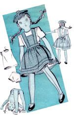 Old sewing pattern for rag doll.  Pattern dates from the 1940's or 1950's and includes pattern pieces for clothing.See website for purchase information.  #ClothDollPatterns #SewYourOwnDolly