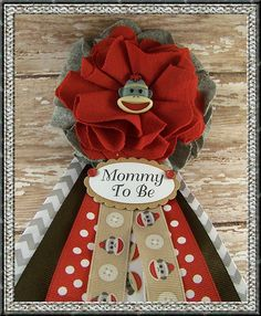 Sock Monkey Mommy To Be Corsage Baby Shower by BloomingParty