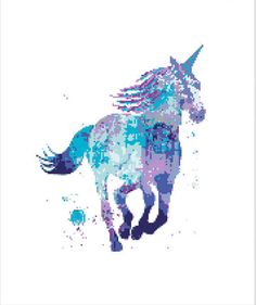 Unicorn Watercolor Cross Stitch Pattern, modern colorful pattern, counted cross stitch, PDF instant download  No123   This is a digital item. The PDF file of the pattern will be available for instant download once payment is confirmed.   ♥ ♥ ♥ ♥   ● Fabric: Aida 14 count ● Grid Size: 110w x 134h Stitches ● Design Area: 7.86 x 9.57inches or 19.96 x 24.31 cm ● DMC Colors: 10     ♥ ♥ ♥ ♥ All electronic file packages include: - cover page with color preview of the finished product, grid size…