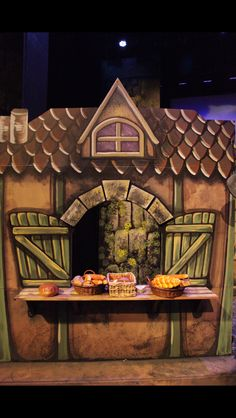 I painted this for Centerpoint Legacy Theatre, Theatre, sets, bakery, Beauty and the Beast set, little town