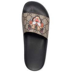 Women's Gucci Pursuit Tiger Print Slide Sandal ($320) ❤ liked on Polyvore featuring shoes, sandals, gucci, canvas shoes, slide sandals, tiger stripe shoes and tiger print shoes